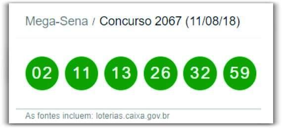 Resultado da Mega-Sena Concurso 2067 deste sábado 11 de agosto de 2018
